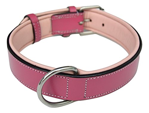Soft Touch Collars Raspberry Pink Leather Padded Dog Collar, for Large Female Dogs, Made with Genuine Real Leather, Quality Collar That is Stylish, Soft, Strong and Comfortable,24'' Long x 1.5'' Wide by Soft Touch Collars (Image #3)