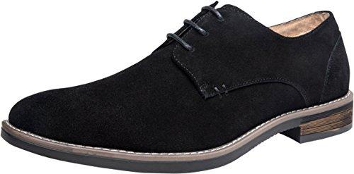 JOUSEN Men's Oxford Suede Dress Shoes Leather Plain Toe Derby Shoes (10,Black) Black Suede Leather Shoe