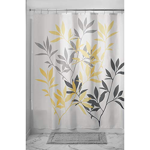 InterDesign Leaves Fabric Shower Curtain, Modern Mildew-Resistant Bath Liner for Master, Kid's, Guest Bathroom, Standard, Gray and Yellow ()