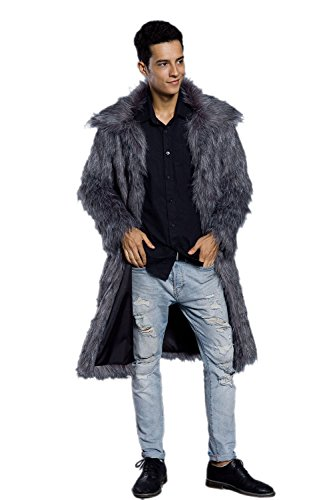 (Amore Bridal Mens Faux Fur Coat Long Black Jacket Warm Furry Overcoat Outwear Grey S)