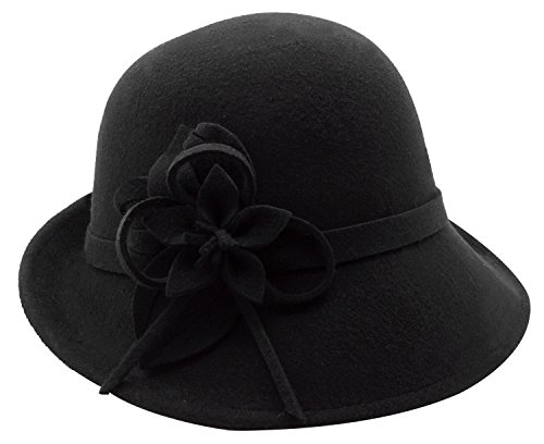 Bellady Women's Elegant Flower Wool Cloche Bucket Bowler Hat, Black