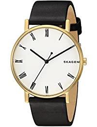 Men's 'Signatur' Quartz Stainless Steel and Leather Casual Watch, Color:Black (Model: SKW6426)