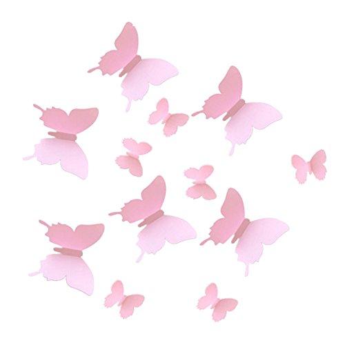 Stickers muraux - TOOGOO(R) 12pcs 3D en forme de papillon Stickers muraux Decoration d'Art / de bricolage papier Decoratif rose