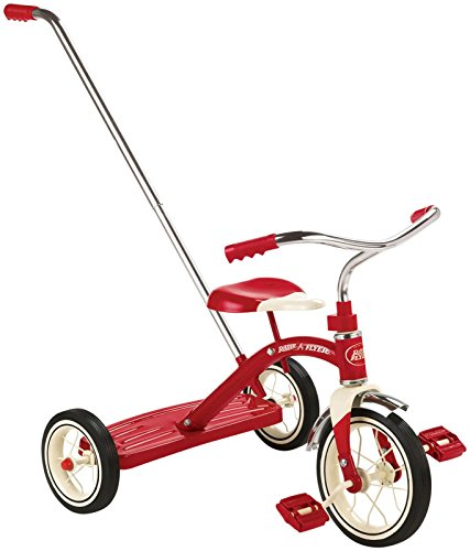 042385909707 - Radio Flyer Classic Tricycle with Push Handle, Red carousel main 0