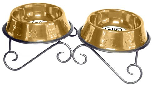24 Karat gold Platinum Pets 32-Ounce Double Diner Stand with 2 Bowls, 24 Karat gold