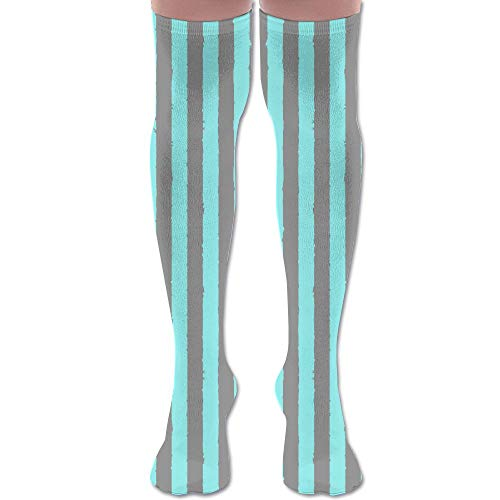 DFAUHAL Distress Stripe Gray Aqua Pastel Fabric (5025) Knee High Graduated Compression Socks for Unisex - Best Medical, Nursing, Travel & Flight Socks - Running & Fitness