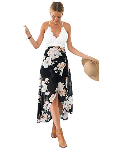 Blooming Jelly Women's Deep V Neck Sleeveless Summer Asymmetrical Wrap Floral Lac Chiffon Maxi Dress