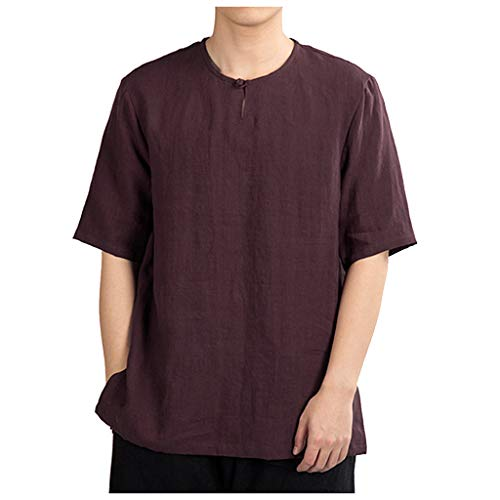 LUCAMORE Men's Solid Casual Cotton Linen T-Shirts Short Sleeve O-Neck Frog Tops Shirts Wine