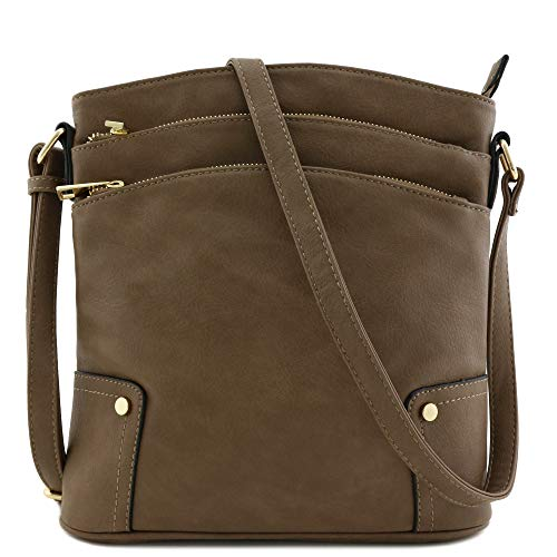 Concealed Zip Pocket - Triple Zip Pocket Large Crossbody Bag (Dark Taupe)