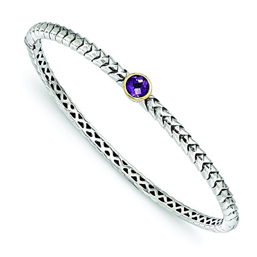 ICE CARATS 925 Sterling Silver 14k Purple Amethyst Bangle Bracelet Cuff Expandable Stackable Gemstone Hinged Fine Jewelry Gift Set For Women Heart by ICE CARATS