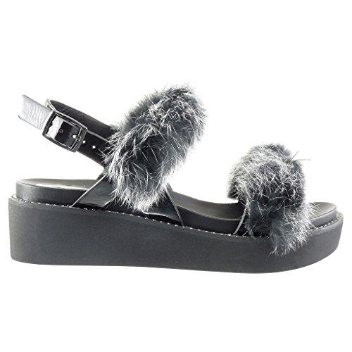 Angkorly Women's Fashion Shoes Sandals Mules - Platform - Pom Pom - Fur Wedge Platform 5 cm Black 1a2eBzJGlN