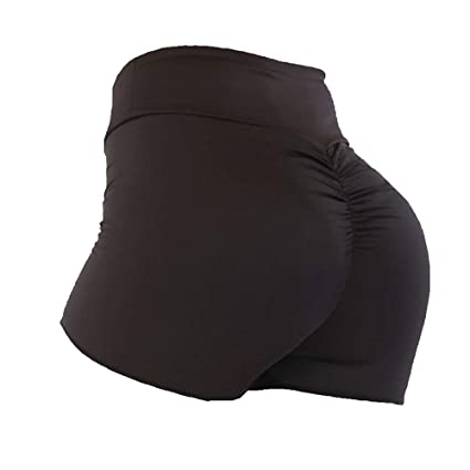 Pantalones Cortos De Mujer,Alta Marrón Color Sólido Elástico ...