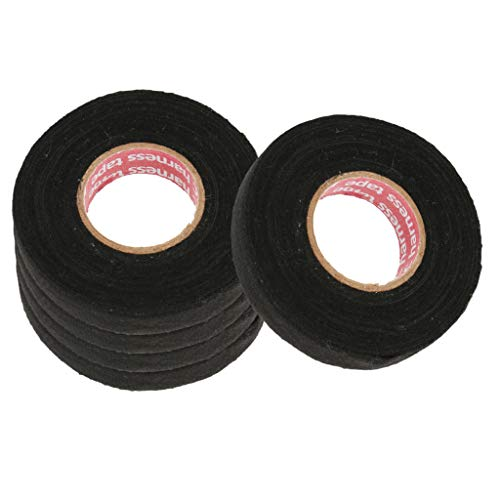 Homyl 5 Rolls Black Wire Loom Harness Tape, High Temperature Resistant Automotive Wiring Harness Cloth Tape, 19mm x 15m: