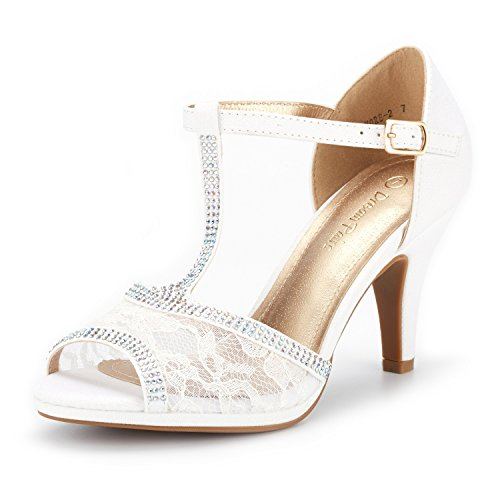 (DREAM PAIRS Women's Amore_2 White Fashion Stilettos Open Toe Pump Heel Sandals Size 5 B(M) US)
