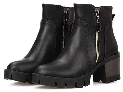 IDIFU Womens Comfy Mid Block Heel Round Toe Side Zipper Short Ankle High Boots With Platform Black c1EVVfvtj