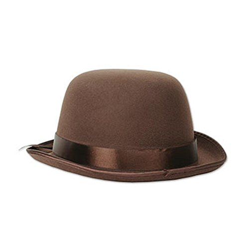 Club Pack of 12 Brown Old Fashioned Bowler Hat Costume -