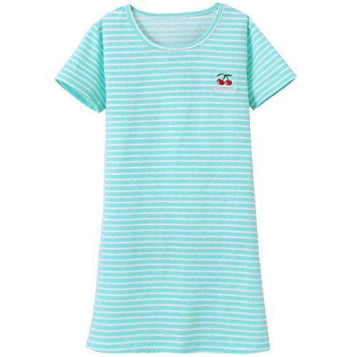JAJADO Little Girls Nightgowns Cotton Sleepwear Nightdress Short-Sleeve Dress Pajamas