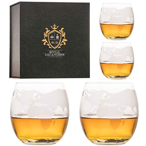Royal Decanters Whiskey Glasses Etched with World Map - Set of 4 10 OZ Glasses Great Gift Set for Whiskey Scotch Rum Bourbon Tequila, Brandy Drinkers - Great for Dad - Packaged in a Beautiful Gift Box