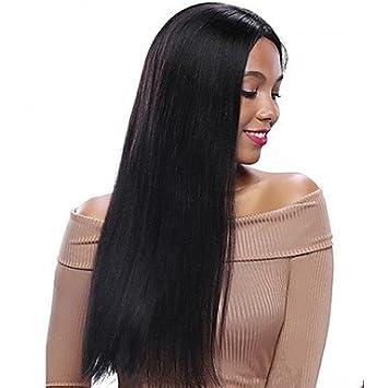 Damen Haarverlängerung Echthaar Lace Wig Perücke Kurz Glatt