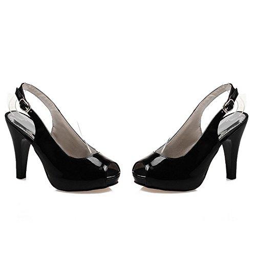 TAOFFEN Mujer Moda Elegante Peep Toe Tacon Embudo Talon Abierto con Hebilla Sandalias Negro