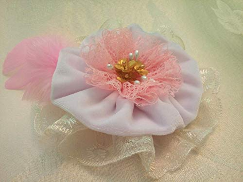 Light Pink White Velvet Lace Fabric Flower Large Brooch 6'' by Studio SilkFantazi