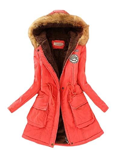 Parka Long EnergyWomen Sleeve Watermelon Long Mid Red Drawstring Velvet Jacket Pocketed rq0ErwC