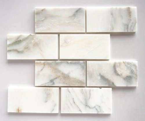 (Calacatta Oro Marble 3X6 Straight-Edge & Honed Subway Tile - STANDARD QUALITY - Lot of 20 Sq. Ft.)