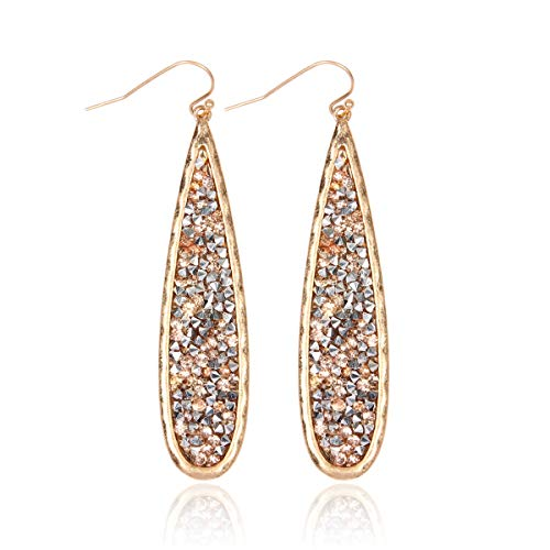 RIAH FASHION Glitter Rhinestone Statement Drop Earrings - Sparkly Crystal Geometric Metal Hook Dangles Vertical Bar, Elongated Teardrop, Shield Disc (Teardrop - Champagne/Gold)