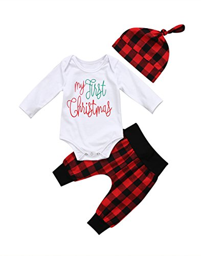 Baby Christmas Outfits (Baby Boy Girl 3pcs Xmas Outfit First Christmas Print Long Sleeve Romper Tops+Plaid Pants+Hat (0-6 Months, Red))
