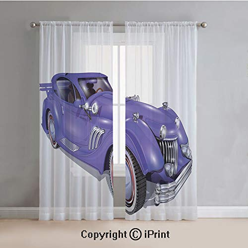 Diamante Spoiler - Cars Sheer Curtains Window Voile,Custom Vehicle with Aerodynamic Design for High Speeds Cool Wheels Hood Spoilers Decorative,for Bedroom,Living Room,Kitchen,2 Panels Set,54x108Inches,Violet Blue