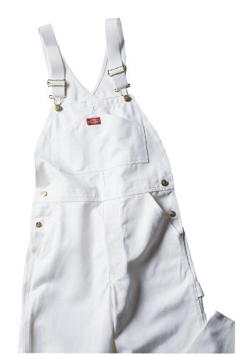 (Dickies Men's Painters Bib Overall, White, 34x32)