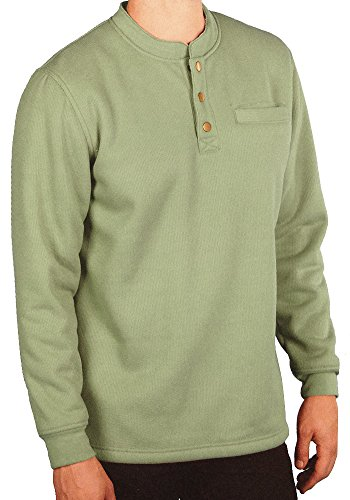 Woodland Supply Co. Men's Sherpa Lined Warm Winter Thermal Henley (X-Large, Olive) (3 Button Flannel)