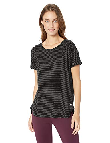 (Amazon Essentials Women's Studio Relaxed-Fit Lightweight Crewneck T-Shirt, -black stripe, Medium)