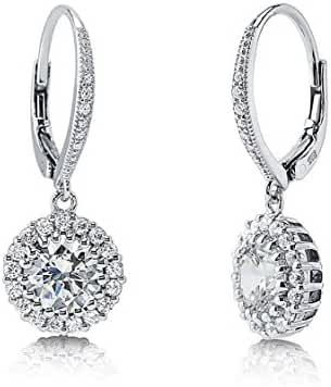 SALE 18K White Gold Over Sterling Silver Cubic Zirconia Pave Huggie Hoop Earrings