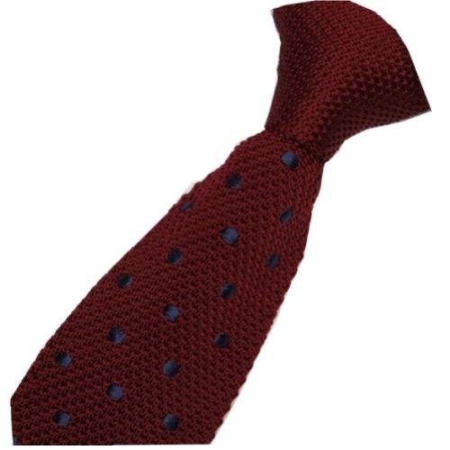 D.berite Men's Dark Red Polka Dot Knitted Tie Necktie Narrow Slim Skinny Woven