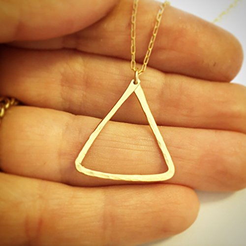 Dainty Boho Gold Filled Layered Triangle Necklace - Artisan Everyday Hammered Handmade ()