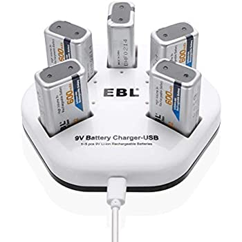 EBL 9V Rechargeable Batteries Lithium ion 9V 600mAh Batteries 600mAh (5 Packs) with 5 Bay 9V Battery Charger 2A Input for Smoke Alarm Detectors