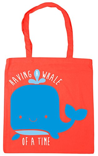 HippoWarehouse Having a Whale of a Time Tote Shopping Gym Beach Bag 42cm x38cm, 10 litres Coral