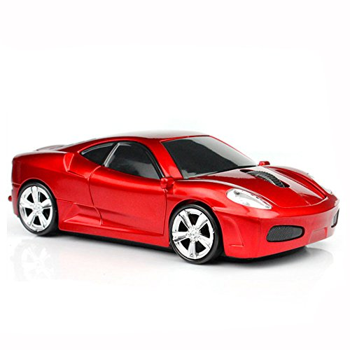 MGbeauty Sport Car Shape Computer Mice 2.4ghz Wireless Mouse 1600dpi Optical Gaming Mice Red