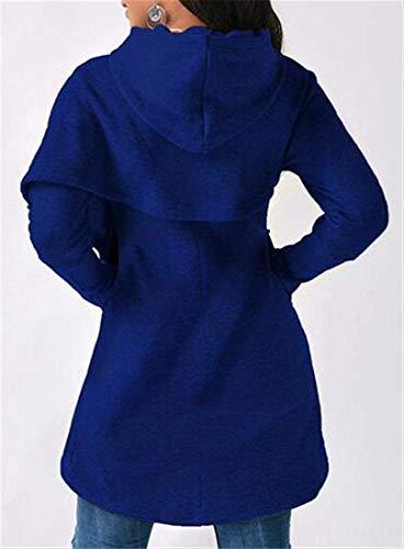 Cappuccio Felpa In Chyedas Con Manica Morbido Blu Lunga E Irregolare 4gqTw1