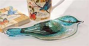 Evergreen Enterprises 3FP43285B Handpainted Glass Platter - Bird Study - 2 Assorted