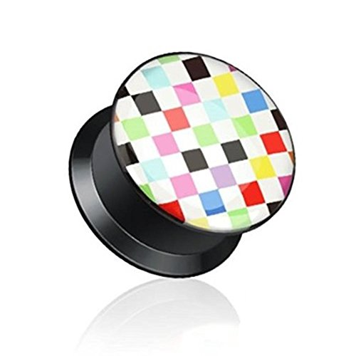 "Coolbodyart Unisex Acryl 1x Single Plug Tunnel 5-12mm ""Multi Checkered"" 12mm"