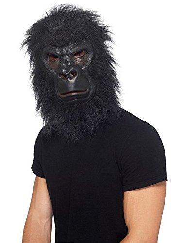 Realistic Furry Black Gorilla Ape Animal Costume Mask, Adult, One Size