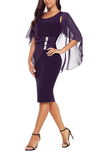 Kyices Womens Chiffon Ruffle Midi Dress Cape Sleeve Ruched Bodycon Dress (L, Purple)