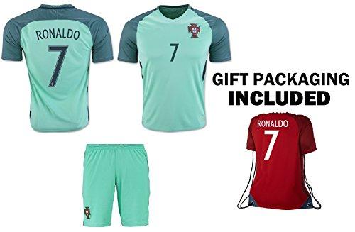 - Ronaldo Jersey #7 Portugal Away Youth Soccer Jersey & Kids Shorts + Ronaldo #7 Drawstring Backpack Premium Football Gift for Boys Girls (YL 10-13 years, Jersey Kit Bag)