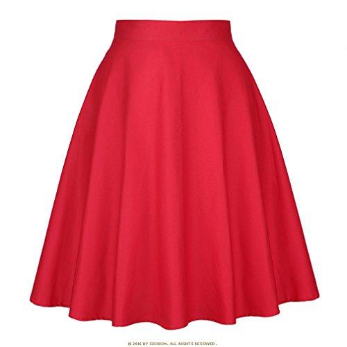 t Jupe Noire Femmes Taille Haute, Plus la Taille imprim Floral  Pois Femmes Jupes d't Skater 50 s Vintage Midi Jupe Solid Red