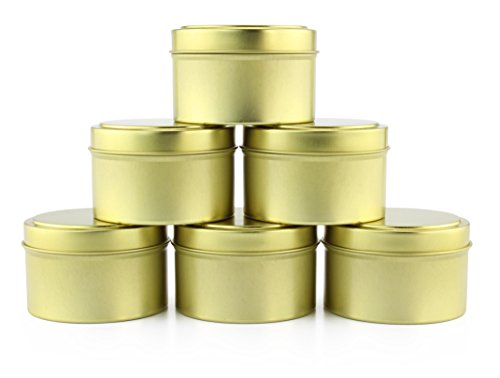 6-Ounce Round Gold Tins (6-Pack), Slip-On Lids Included; for Candles, DIY, Party Favors & - Gold Favor Tins
