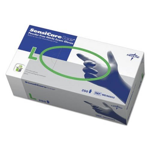 Medline Sensicare Ice Nitrile Exam Gloves, Powder-Free, Large, Blue, 250/Box