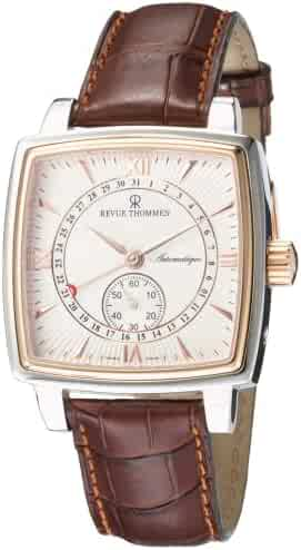 Revue Thommen Men's 14300-2862 Carre Cambre Date Pointer Analog Display Swiss Automatic Brown Watch