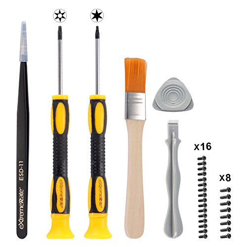 eXtremeRate® T6 T8H Screwdriver Set Opening Tools Repair Kits for Xbox One Xbox 360 Controller with Spare Screws Tweezers Prying Tool and Cleaning Brush (360 Xbox Modding)